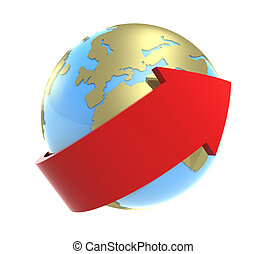 Around of the Earth 2 - 3-d model of a red arrow bending...
