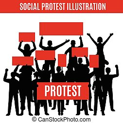 Social Protest Silhouettes Composition - Composition with...