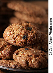 Oat cookies close-up - Homemade oat cookies with cereals and...