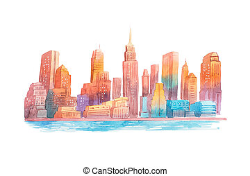 Watercolor drawing evening city at sunset cityscape...