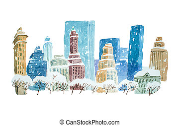 Watercolor drawing winter cityscape city in snow aquarelle...