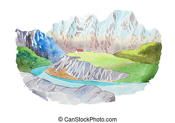 Natural landscape mountains and river watercolor...