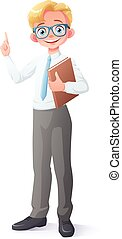 Vector clever young school boy with eyeglasses finger...
