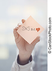 SMS me text on adhesive note