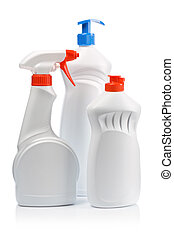 white kitchen cleaning bottles