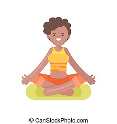 Vector flat style illustration of afro american woman doing...