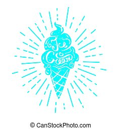 Hand drawn textured label, ice cream vector illustration and...