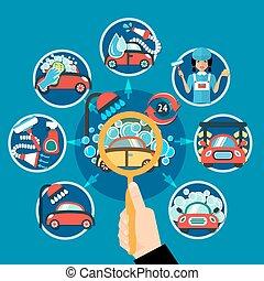 Car Wash Magnifier Concept - Car wash conceptual composition...