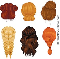 Women Hairstyle Back View Icons Collection
