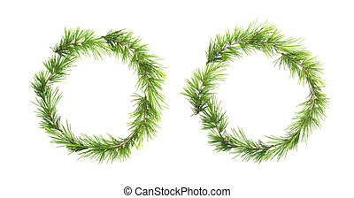 Green christmas wreath with pine branches isolated on white...