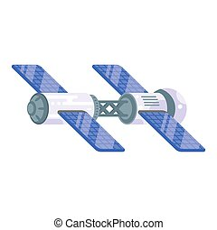 Vector flat style illustration of space station with solar cells.