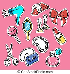 Vector set of fashionable patches: hairdryer, pomade,...