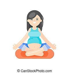 Vector flat style illustration of pregnant woman doing yoga.