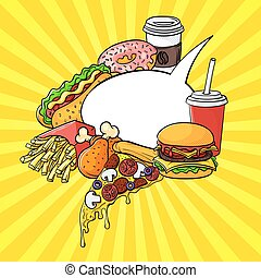 Vector hand drawn pop art set of fast food with speech bubble.