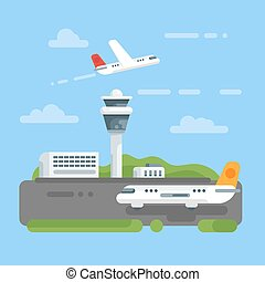 Vector flat style illustration of airport.
