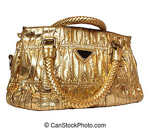 golden feminine bag isolated on a white back