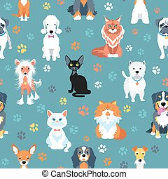 Seamless pattern with cats and dogs flat design - Vector...