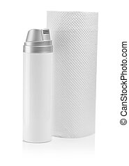 cosmetical spray and towel