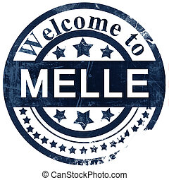 Melle stamp on white background