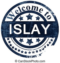 Islay stamp on white background