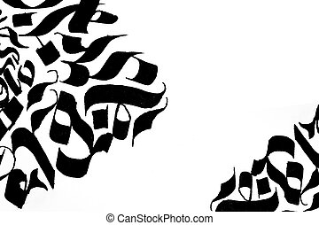 abstract calligraphic drawings on white background....
