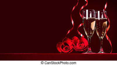 Champagne and roses - Champagne and heart shaped roses with...