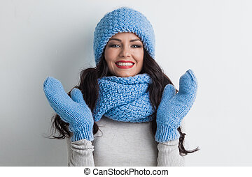 Woman in warm clothing - Beautiful woman in warm hat,...