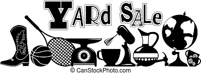 Yard Sale Sign - Yard sale vector silhouette banner with...