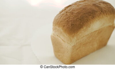 Close up of wheat bread on the white background