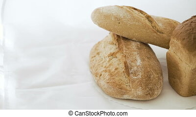 Close up of wheat breads on the white background
