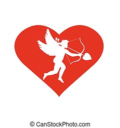 heart with cupid inside. Valentine's Day