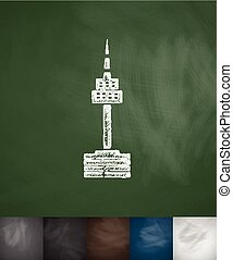 tower icon. Hand drawn vector illustration. Chalkboard...