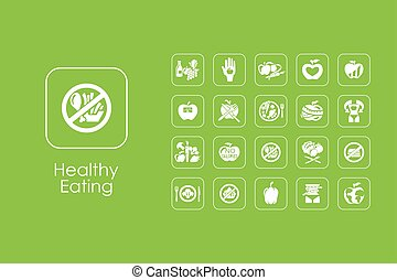 Set of healthy eating simple icons - It is a set of healthy...