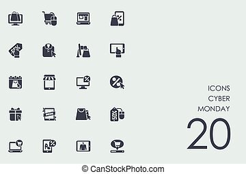 Set of Cyber Monday icons - Cyber Monday vector set of...