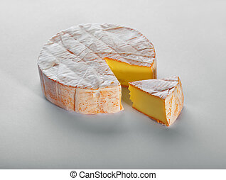 Cheese with a white mould on gray background