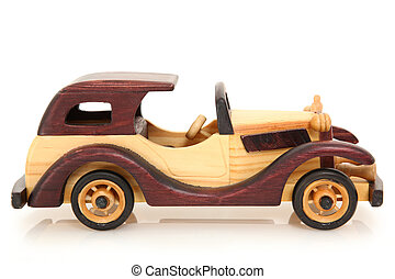 Toy Wooden Car - Wooden toy car over white background with...