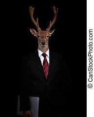 business man with animal head - business man with deer head...