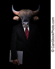 business man with animal head - business man with bull head...