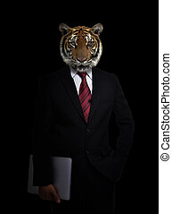 business man with animal head - business man with tiger head...