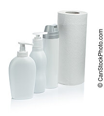 white cosmetical spray and towel