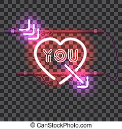 Glowing red neon heart pierced with purple arrow and letters...