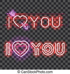 Set of neon signs I LOVE YOU - Set of glowing neon signs I...