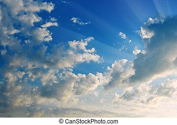 declínio, céu,  solar, nublado, vigas