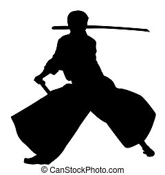 Aikido man - Samurai with katana sword practicing Aikido