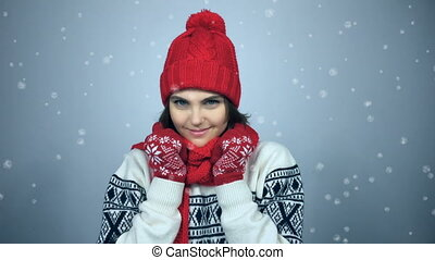 Winter girl portrait - Christmas, winter portrait of young...