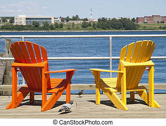 Colorful Halifax Chairs - Two colorful chairs on Halifax...