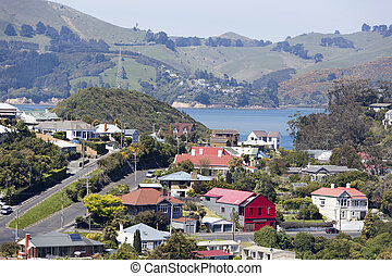 New Zealand's Suburbs - The view of Port Chalmers houses,...