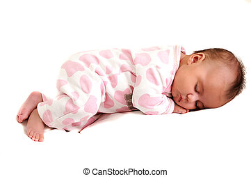 full body photo of sweet newborn baby peaceful and asleep
