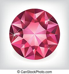 Brilliant shiny ruby on grey background.