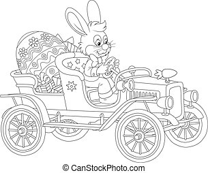 Easter Bunny in his retro car - A little rabbit driving an...